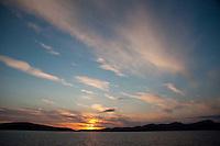Sun Set Aboard the MV Elwha Heading Toward Friday Harbor, San Juan Islands, Washington, US