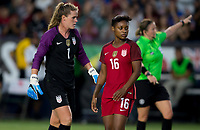 Carson, CA - Thursday August 03, 2017: Alyssa Naeher, Taylor Smith during a 2017 Tournament of Nations match between the women's national teams of the United States (USA) and Japan (JAP) at StubHub Center.