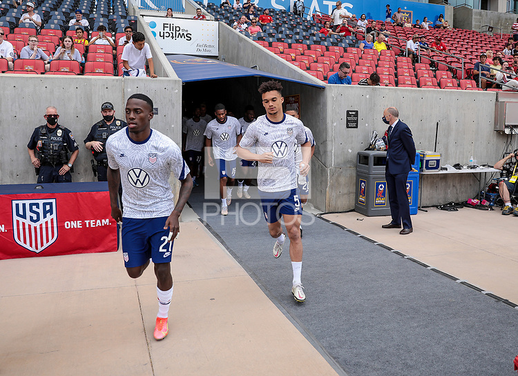 SANDY, UT - JUNE 10: Timothy Weah #21 and Antonee Robinson #5 of the United States warming up before a game between Costa Rica and USMNT at Rio Tinto Stadium on June 10, 2021 in Sandy, Utah.