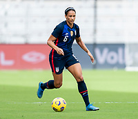 ORLANDO, FL - FEBRUARY 21: Lynn Williams #6 of the USWNT dribbles during a game between Brazil and USWNT at Exploria Stadium on February 21, 2021 in Orlando, Florida.
