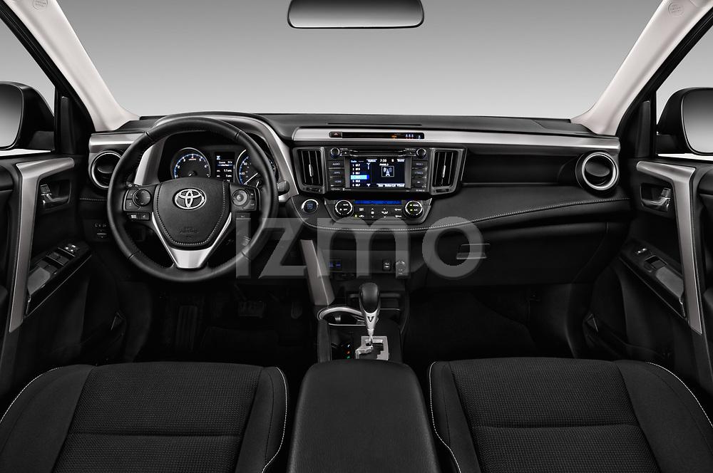 Stock photo of straight dashboard view of a 2018 Toyota RAV4 Adventure 5 Door SUV