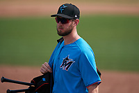 Miami Marlins Brian Miller (92) after a Major League Spring Training game against the Houston Astros on March 21, 2021 at Roger Dean Stadium in Jupiter, Florida.  (Mike Janes/Four Seam Images)