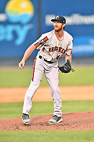 Aberdeen IronBirds pitcher Clayton McGinness (40) delivers a pitch during a game against the Asheville Tourists on June 18, 2021 at McCormick Field in Asheville, NC. (Tony Farlow/Four Seam Images)