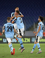 Football, Serie A: S.S. Lazio - Cagliari, Olympic stadium, Rome, July 23, 2020. <br /> Lazio's Sergej Milinkpvic-Savic (c) celebrates after scoring with his teammates  during the Italian Serie A football match between Lazio and Cagliari at Rome's Olympic stadium, Rome, on July 23, 2020. <br /> UPDATE IMAGES PRESS/Isabella Bonotto