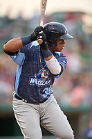 West Michigan Whitecaps right fielder Cesar Gonzalez (38) at bat during a game against the Fort Wayne TinCaps on May 17, 2018 at Parkview Field in Fort Wayne, Indiana.  Fort Wayne defeated West Michigan 7-3.  (Mike Janes/Four Seam Images)