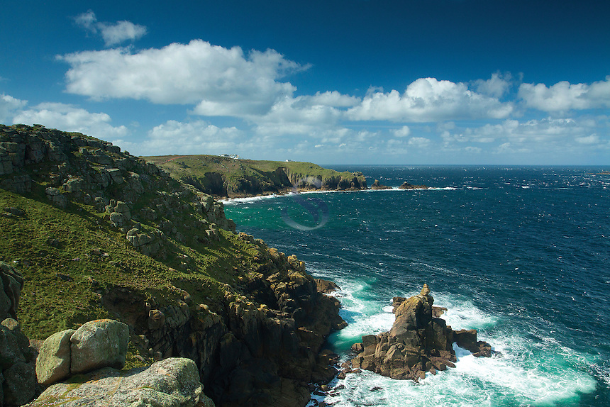 Land's End, the English mainland's most westerly point, from above Sennen Cove