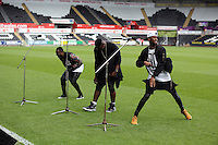 Pictured: Rough Copy rehearsing. Sunday, 01 June 2014<br /> Re: Celebrities v Celebrities football game organised by Sellebrity Scoccer, in aid of Swansea City Community Trust, at the Liberty Stadium, south Wales.