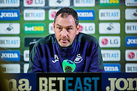 Thursday  12 January 2014<br /> Pictured: Manager of Swansea City Paul Clement<br /> Re: Manager of Swansea City Paul Clement's press conference ahead of this weekends home premier league game against Arsenal.