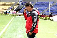 PASTO - COLOMBIA, 17-10-2021:Flabio Torres técnico del Deportivo Pasto gesticula durante partido por la fecha 14 entre  Deportivo Pasto y Deportes QuindioPcomo parte de la Liga BetPlay DIMAYOR II 2021 jugado en el estadio Departamental Libertad de la ciudad de Pasto/  Flabio Torres coach of Deportivo Pasto gestures during Match for the date 14 between Deportivo Pasto and Deportes Quindio as part of the BetPlay DIMAYOR League II 2021 played at Departamental Libertad stadium in Pasto city.. Photo: VizzorImage / Leonardo Castro / Contribuidor