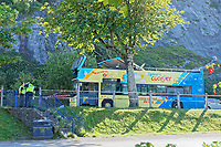 Pictured: Emergency services attend the scene of an accident in which a First Cymru Coaster open top bus lost its roof after crashing onto a tree while travelling on Mumbles Road near Knab Rock in Mumbles, Swansea, Wales, UK.