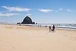 Couple walking dog on beach near Haystack Rock; Cannon Beach on the Oregon Coast.