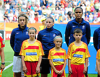 Fifa Women's World Cup Germany 2011 : Zweden - France Frankrijk at Sinsheim World Cup stadium : Sandrine Soubeyrand , Berangere Sapowicz en Wendie Renard.foto DAVID CATRY / Vrouwenteam.be