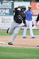 Quad Cities River Bandits designated hitter Ronnie Dawson (12) rounds third base after hitting a home run during a game against the Wisconsin Timber Rattlers at Fox Cities Stadium on June 27, 2017 in Appleton, Wisconsin.  Wisconsin lost 6-5.  (Dennis Hubbard/Four Seam Images)