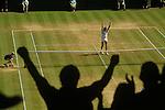 Wimbledon tennis London SW19 England 1980s Fans celebrate a win on centre court  UK 1985
