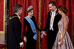Queen Letizia, president of Argentine Republic, King Felipe VI of Spain and Juliana Awada during the gala dinner given to the President of the Argentine Republic, Sr. Mauricio Macri and Sra Juliana Awada at Real Palace in Madrid, Spain. February 19, 2017. (ALTERPHOTOS/BorjaB.Hojas)