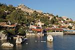 Turkey, Province Antalya, Kalekoy (Simena), near Kas: Lycian sarcophagus and castle | Tuerkei, Provinz Antalya, Kalekoey (Simena), bei Kas: Lykische Sarkophage und mittelalterliche Kreuzfahrerburg