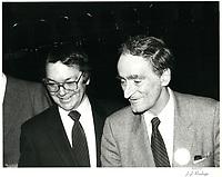 Le  chef du PLQ, Claude Ryan a la tribune de la chambre de commerce de Montreal, le 2 mai 1980<br /> <br /> PHOTO : Agence Quebec Presse