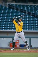 AZL Athletics right fielder Enrry Pantoja (16) bats during a game against the AZL Cubs on August 9, 2017 at Sloan Park in Mesa, Arizona. AZL Athletics defeated the AZL Cubs 7-2. (Zachary Lucy/Four Seam Images)