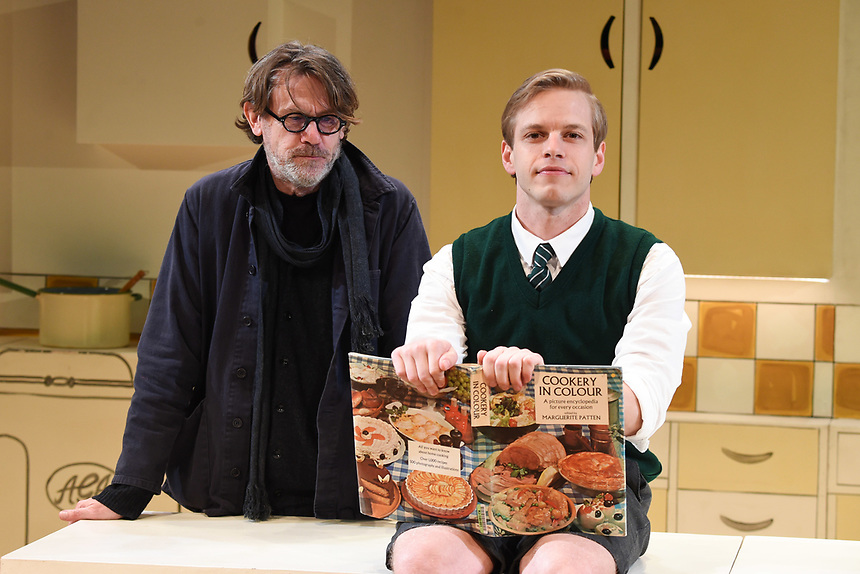 """Nigel Slater and Giles Cooper who plays Nigel Slater<br /> performs on stage in """"Toast"""" at The Other Palace theatre, London<br /> <br /> ©Ash Knotek  D3490  04/04/2019"""