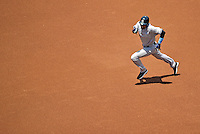 17 June 2012: New York Yankees shortstop Derek Jeter hustles on the base path during play against the Washington Nationals at Nationals Park in Washington, DC. The Yankees defeated the Nationals 4-1 to sweep their 3-game series. Mandatory Credit: Ed Wolfstein Photo