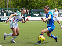 Jill Janssens (7) of OHL and Fran Meersman (5) of AA Gent in action during a female soccer game between Oud Heverlee Leuven and AA Gent Ladies on the 9 th matchday of play off 1 in the 2020 - 2021 season of Belgian Womens Super League , saturday 22 nd of May 2021  in Heverlee , Belgium . PHOTO SPORTPIX.BE | SPP | SEVIL OKTEM