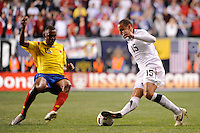 Jermaine Jones (15) of the United States (USA) is marked by Jhon Viafara (15) of Colombia (COL). The men's national teams of the United States (USA) and Colombia (COL) played to a 0-0 tie during an international friendly at PPL Park in Chester, PA, on October 12, 2010.