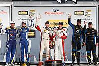 #81 BimmerWorld Racing, BMW 328i, ST: Nick Galante, Devin Jones,  #52 MINI JCW Team, MINI JCW, ST: Mark Pombo, Colin Mullan,  #21 Bodymotion Racing, Porsche Cayman, ST: Max Faulkner, Jason Rabe,  podium