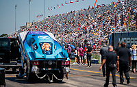 Aug 8, 2020; Clermont, Indiana, USA; NHRA fans in the grandstands during funny car qualifying for the Indy Nationals at Lucas Oil Raceway. Mandatory Credit: Mark J. Rebilas-USA TODAY Sports