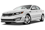 Low aggressive front three quarter view of a 2013 Kia Optima SXL