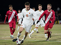 COLLEGE PARK, MD - NOVEMBER 15: Eric Matzelevich #15 of Maryland moves past A.J. Palazzolo #4 of Indiana during a game between Indiana University and University of Maryland at Ludwig Field on November 15, 2019 in College Park, Maryland.