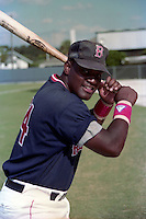 Boston Red Sox Mo Vaughn circa 1989 at Chain of Lakes Park in Winter Haven, Florida.  (MJA/Four Seam Images)