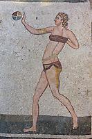 Mosaik in der Villa Romana del Casale bei Piazza Armerina, Sizilien, Italien, Unesco-Weltkulturerbe