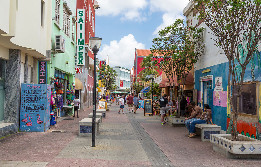 Willemstad, Curacao, Lesser Antilles.  Street Scene.