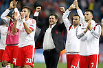 SL Benfica's Victor Andrade, Jardel, coach Rui Vitoria, Jonas and Andreas Samaris celebrate the victory in Champions League 2015/2016 match. September 30,2015. (ALTERPHOTOS/Acero)