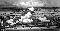 Bird's-Eye View of the Battle near New Orleans, January 8, 1815.  Copy of engraving from a sketch by Latour, Jackson's chief engineer. (Army) <br /> NARA FILE #:  111-SC-90818<br /> WAR & CONFLICT BOOK #:  92