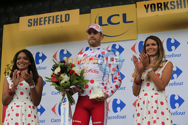 Cyril Lemoine (FRA) Cofidis takes the Polka Dot Climber's Jersey after Stage 2 of the 2014 Tour de France running 200km from York to Sheffield. 6th July 2014.<br /> Picture: Eoin Clarke www.newsfile.ie