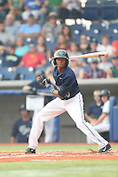 Sergio Alcantara (10) of the Hillsboro Hops bats during a game against the Boise Hawks at Ron Tonkin Field on August 22, 2015 in Hillsboro, Oregon. Boise defeated Hillsboro, 6-4. (Larry Goren/Four Seam Images)