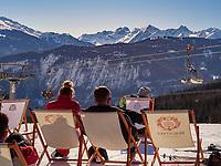 Wintersport bei Untermarkter Alm im Ski-Gebiet Hochimst bei Imst, Tirol, Österreich, Europa<br /> winter sportsl, alp  Untermarkter Alm, skiing area Hochimst, Imst, Tyrol, Austria, Europe