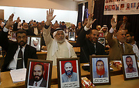 "Pictures of jailed Palestinian lawmakers are seen during a Hamas lawmakers' session of the Palestinian Legislative Council in Gaza November 21, 2007.""photo by Fady adwan"""