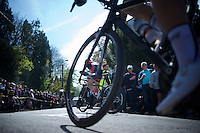 Lauren Hall (USA) seen through the wheel of Amelie Rivat (FRA/Poitou-Charentes.Futuroscope.86) up the infamous Mur de Huy (1300m/9.8%)<br /> <br /> Flèche Wallonne Féminine 2015