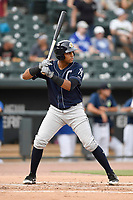 Third baseman Dermis Garcia (18) of the Charleston RiverDogs bats in a game against the Columbia Fireflies on Monday, August 7, 2017, at Spirit Communications Park in Columbia, South Carolina. Columbia won, 6-4. (Tom Priddy/Four Seam Images)