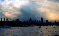London: Looking east to St. Paul's from Waterloo Bridge.  (Barbican on left)  Photo 1979.