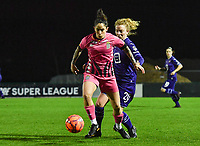 Ylenia Carabott (7) of Sporting Charleroi pictured in a duel with Charlotte Tison (20) of Anderlecht  during a female soccer game between RSC Anderlecht Dames and Sporting Charleroi on the 13 th matchday of the 2020 - 2021 season of Belgian Womens Super League , friday 5 th of February 2021  in Tubize , Belgium . PHOTO SPORTPIX.BE | SPP | DAVID CATRY