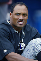 Terry Shumpert of the Colorado Rockies before a 2002 MLB season game against the Los Angeles Dodgers at Dodger Stadium, in Los Angeles, California. (Larry Goren/Four Seam Images)