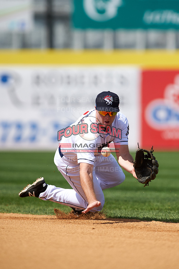 Binghamton Rumble Ponies second baseman Dale Burdick (1) fields a ground ball during a game against the Hartford Yard Goats on July 9, 2017 at NYSEG Stadium in Binghamton, New York.  Hartford defeated Binghamton 7-3.  (Mike Janes/Four Seam Images)