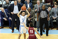 CHAPEL HILL, NC - FEBRUARY 1: Cole Anthony #2 of the University of North Carolina holds the ball during a game between Boston College and North Carolina at Dean E. Smith Center on February 1, 2020 in Chapel Hill, North Carolina.