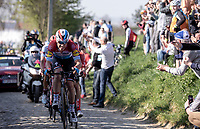 Bob Jungels (LUX/Deceuninck Quick Step) leading the race up the infamous 'Oude Kwaremont'<br /> <br /> 62nd E3 Harelbeke 2019 (1.UWT)<br /> Harelbeke – Harelbeke: 203,9km<br /> ©kramon