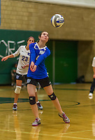 1 November 2015: Yeshiva University Maccabee Outside Hitter, Setter, and team co-Captain Shana Wolfstein, a Senior from Burlington, VT, bumps one against the Saint Joseph College Bears at SUNY Old Westbury in Old Westbury, NY. The Bears shut out the Maccabees 3-0 in NCAA women's volleyball, Skyline Conference play. Mandatory Credit: Ed Wolfstein Photo *** RAW (NEF) Image File Available ***
