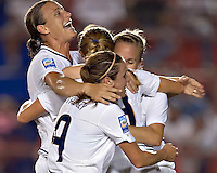 Rachel Buehler of United States celebrates goal with teammates. The US Women's National Team defeated Haiti 5-0 during the CONCACAF Women's World Cup Qualifying tournament at Estadio Quintana Roo in Cancun, Mexico on October 28th, 2010.