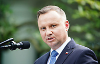 US President Donald J. Trump (not pictured) and Polish President Andrzej Duda hold a joint press conference in the Rose Garden of the White House in Washington, DC, USA, 24 June 2020. Duda, a conservative nationalist facing a tight re-election race back home, is the first foreign leader to visit the White House in more than three months.<br /> Credit: Jim LoScalzo / Pool via CNP/AdMedia